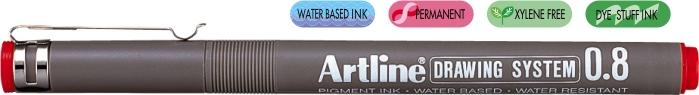 Marker Pentru Desen Tehnic Artline  Varf Fetru 0.8mm - Rosu