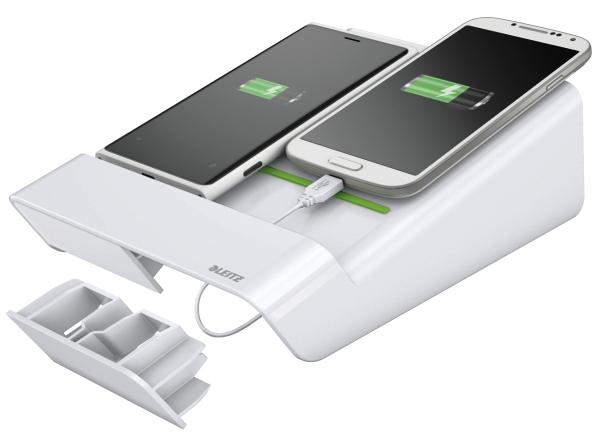 Duo-incarcator De Birou Leitz Complete  Pentru 2 Smartphone-uri Sau O Tableta Pc - Alb