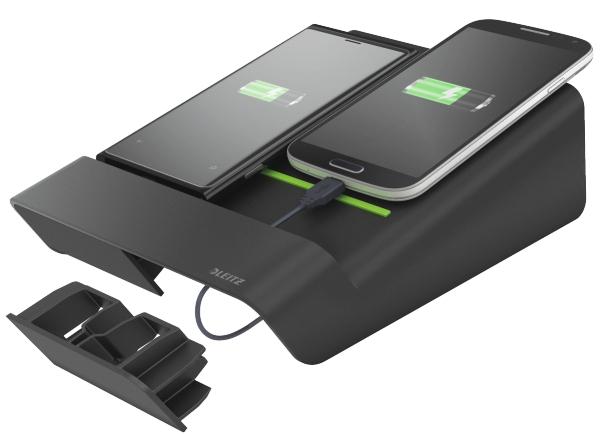 Duo-incarcator De Birou Leitz Complete  Pentru 2 Smartphone-uri Sau O Tableta Pc - Negru