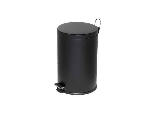Cos Metalic Cu Pedala Si Capac  Forma Rotunda  20 Litri  Alco - Negru