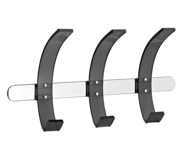 Cuier Metalic Cromat Alco Design  De Perete  Cu 3 Agatatori Din Acril