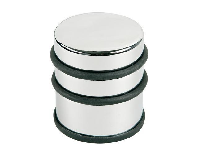 Opritor Metalic Inalt  Pentru Usa  Rotund  Cu Inel De Cauciuc  Alco Design - Argintiu