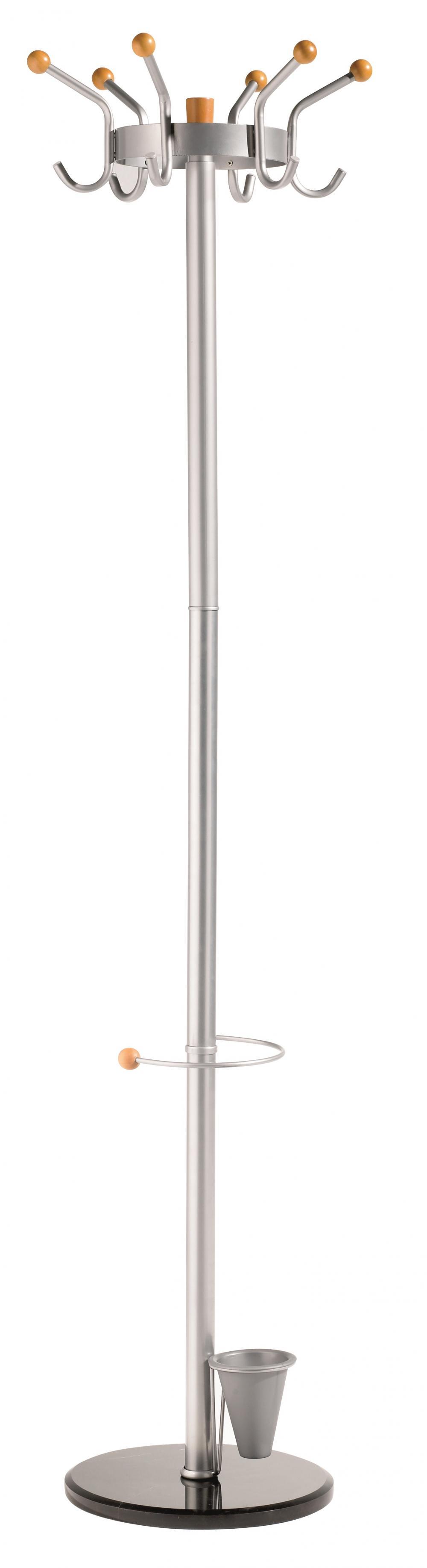 Cuier Metalic Alco  185/45cm  6 Agatatori Metalice Cu Accesorii Din Lemn  Suport Umbrele - Argintiu