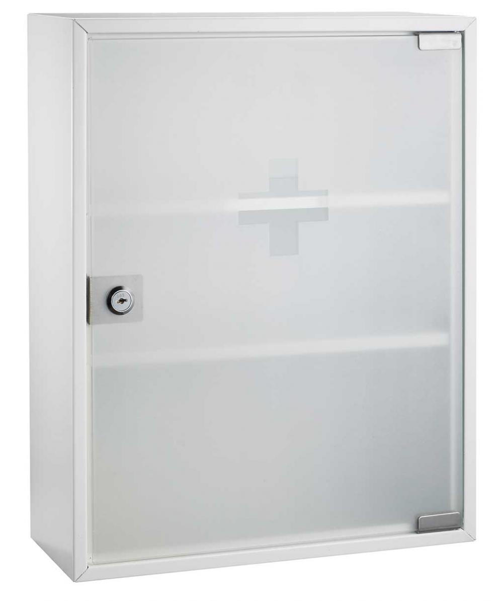 Cutie Metalica De Prim Ajutor  Dimensiuni 36 X 32 X 10cm  Usa Sticla  Alco - Alba