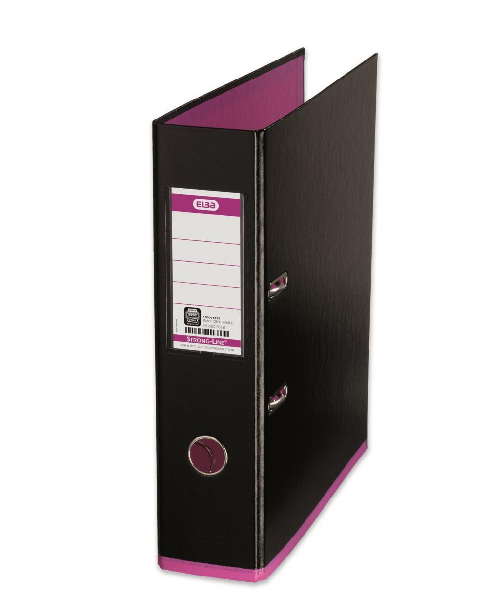Biblioraft A4  Plastifiat Pp/pp  80 Mm  Elba Mycolour - Negru/roz