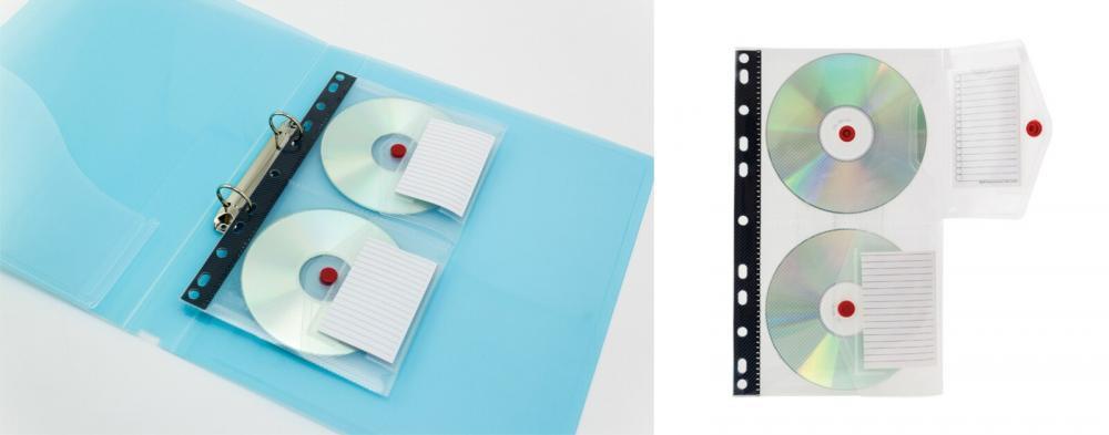 Folie Protectie A4  Pentru 2 Cd/dvd  Cu Etichete Pentru Index  5 Buc/set  Pukka