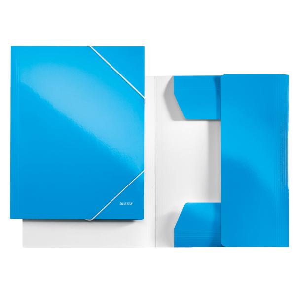 Mapa Carton Cu Elastic Leitz Wow - Albastru Metalizat