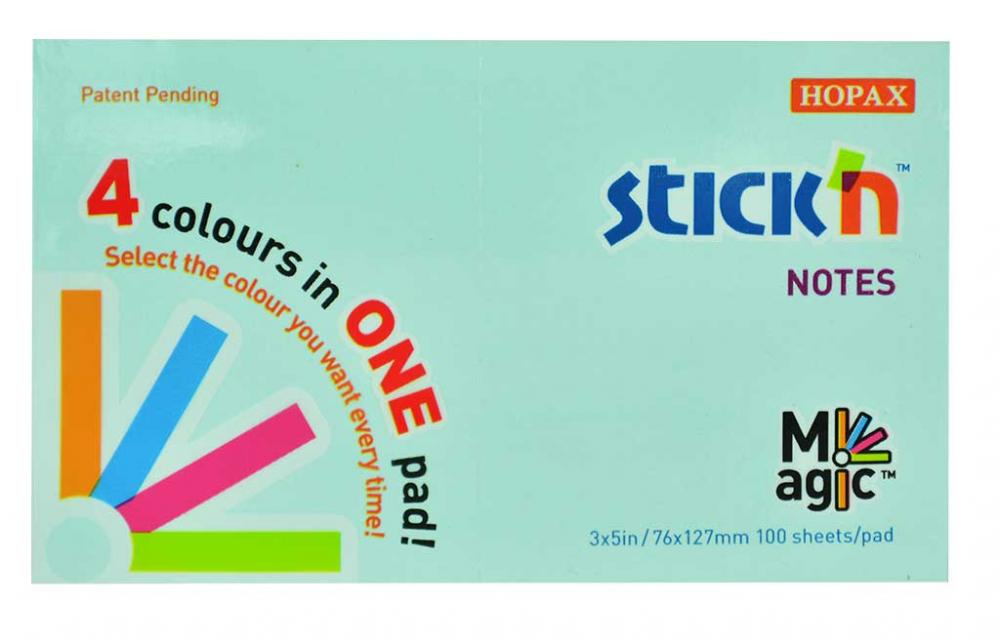 Magic Notes Autoadeziv 76 X 127 Mm  100 File  Stickn Magic Notes - 4 Culori Pastel