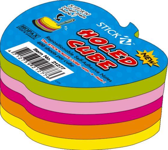 Notes Autoadeziv Die-cut - Mar  70 X 70 Mm  400 File  Stickn - 5 Culori Fluorescente