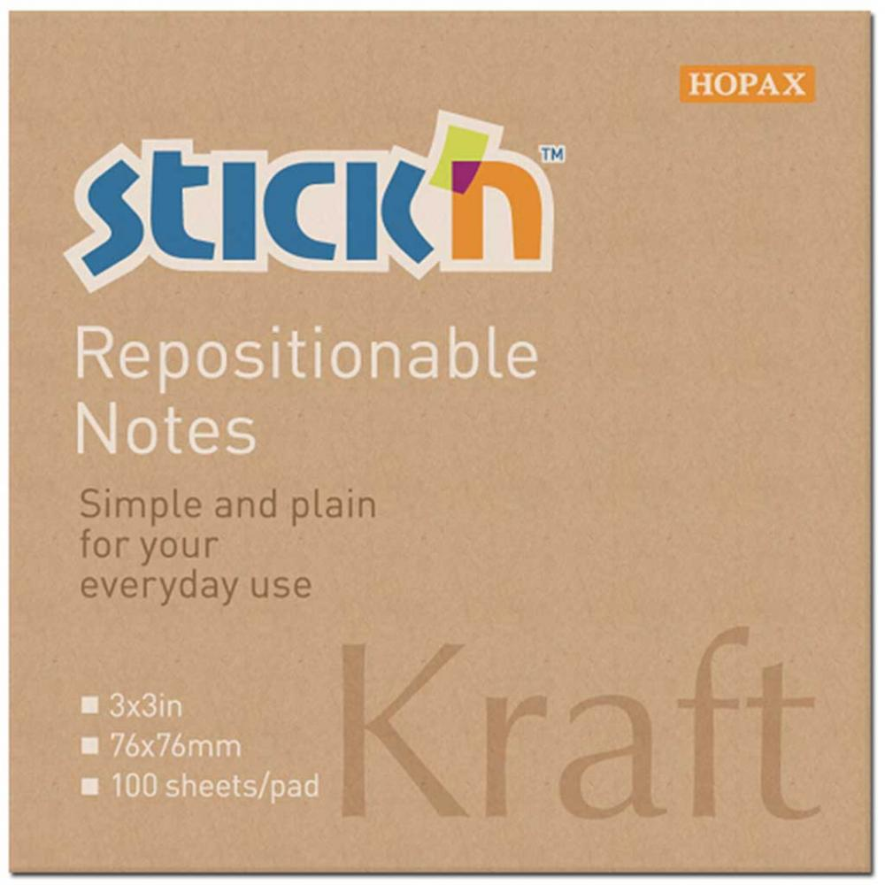 Notes Autoadeziv 76 X 76 Mm  100 File  Stickn - Kraft