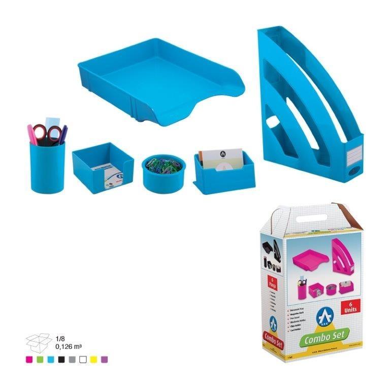 Set Birou Plastic Ark 1397 Combo Albastru