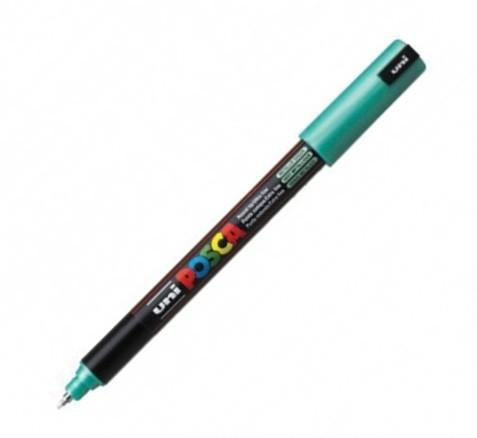 Marker Uni Pc-1mr Posca 0 7 Mm Varf Fin Metalic Verde Metalizat