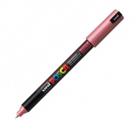 Marker Uni Pc-1mr Posca 0 7 Mm Varf Fin Metalic Rosu Metalizat