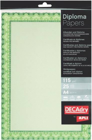 Hartie A4 Diploma Decadry Spiral Osd4054 115g/mp 25 Coli Verde/smarald