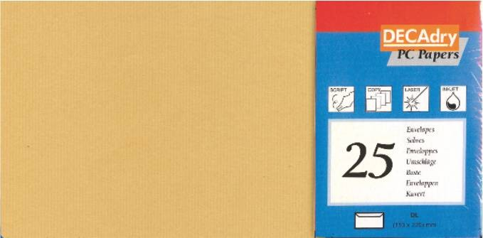 Plic C7 (110x220mm) Texturat Decadry Kraft 251696 100g/mp 25 Bucati/set