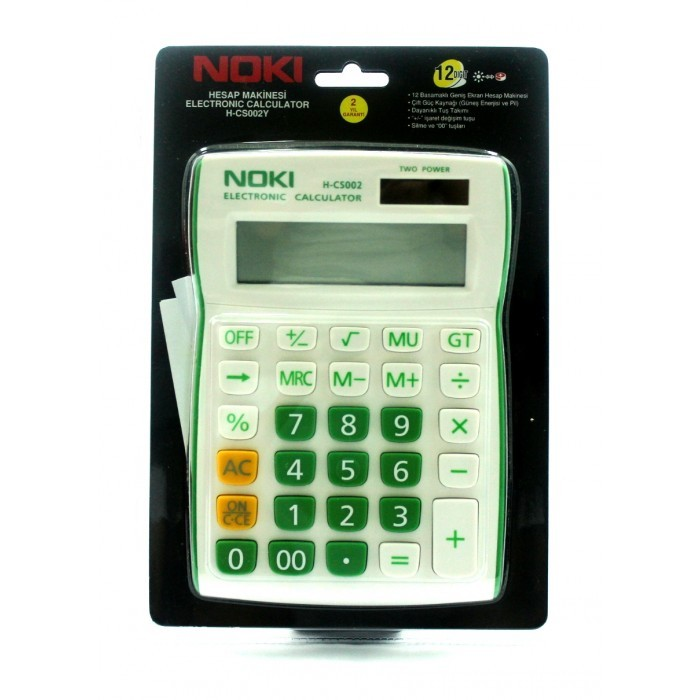 Calculator 12 Digit Noki H-cs002y Verde