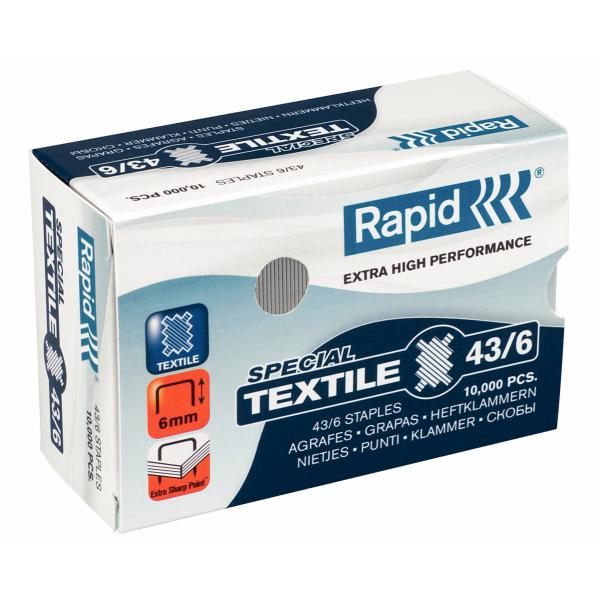 Capse Rapid 43/6g Textile  10000 Buc/cutie - Pentru Capsator Rapid Classic K1 Textile