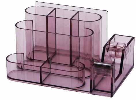 Suport Plastic Pentru Accesorii De Birou  7 Compartimente  168 X 78mm  Kejea - Fumuriu
